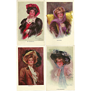 Five Philip Boileau Lady Postcards by Reinthal & Newman