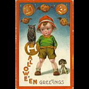 SOLD John Winsch Embossed Halloween Postcard with Young Boy, Pumpkins, Owl, Puppy