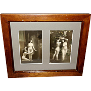 German Real Photo Risque Women in Faux Nude Body Stockings