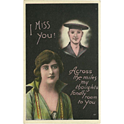 Vintage Postcard of Woman Thinking of Her Soldier Across the Miles