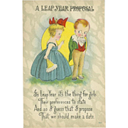 SALE PENDING Vintage Postcard of Two Children A Leap Year Proposal