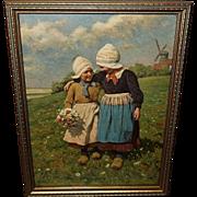 Karl Feiertag Vintage Print of Little Sister - Two Dutch Girls