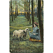 Raphael Tuck Photochrome Postcard of Girl with Sheep