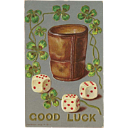 Vintage Embossed Postcard 1908 with Dice for Good Luck