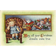 Embossed 1914 Christmas Postcard of Girl and Toys