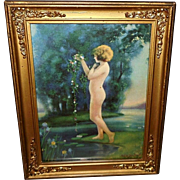 Bertram Basabe Vintage Print of In the Dewy Morn with Nude - Ornate Frame