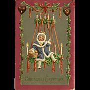 German Embossed Christmas Postcard of Girl