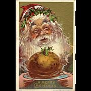 Julius Bien Embossed Christmas Postcard of Santa with Gift of Food