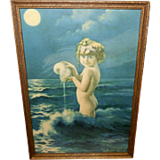 Bertram Basabe Vintage Print of Young Girl in Water