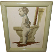 First Potty Training Lesson Artist Signed and Numbered Print