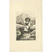 SOLD Art de Vienne Postcard of Young Girl with Sheep