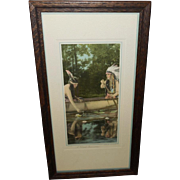 SALE PENDING Native Amerian Indian Couple Calendar Aquatint Print - A Forest Romance