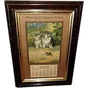 Metropolitan Life Insurance 1924 Advertising Calendar with Kittens and Grasshopper