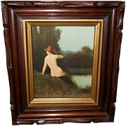 J.J. Henner 1925 Print of A Bather in Deep Carved Frame