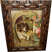 Chromolithograph of Newfoundland and Terrier Dog in Carved Wood Frame