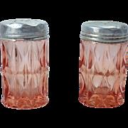 SOLD Jeannette Windsor Diamond Pink Depression Glass Salt and Pepper Shakers