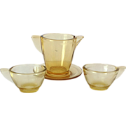 Akro Agate Stippled Band Amber Depression Glass Child's Toy Dishes 4 Piece Set