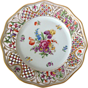 SOLD Schumann Bavaria US Zone Château Reticulated Dresden Flowers 9-1/2 inch Display Plate
