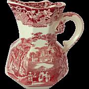 Mason's Ironstone England Vista Pink Transfer Ware 16 ounce Hydra Jug Circa 1930s