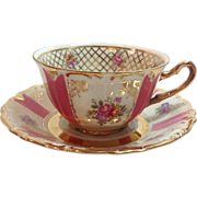 SOLD Winterling Bavaria Pink Paneled and Gold Filigree Floral Tea Cup and Saucer
