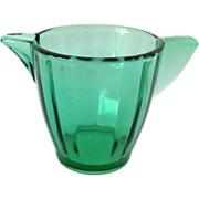 Akro Agate Child's Interior Panel Transparent Green Glass Pitcher