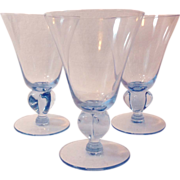 Seneca Ingrid Blue Footed Water Goblets Four Lobed Stem #520 Set of Three