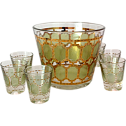 Mid Century Glass Green and Gold Ice Bucket and Six Shot Glasses