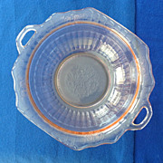 REDUCED Hocking Mayfair Open Rose Pink Depression Glass Two Handled Serving Bowl