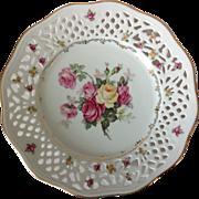 SOLD Schumann Bavaria US Zone Pierced Rim Rose Dresden Floral Display Plate