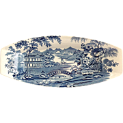 SOLD Royal Staffordshire Transfer Ware Tonquin Blue Clarice Cliff Celery Dish