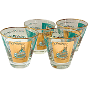 Libbey Southern Comfort Set of Four 22K Gold and Aqua Riverboat Old-Fashioned Glasses circa ..