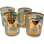 Libbey Southern Comfort Set of Four 22K Gold and Aqua Riverboat Double Rocks Glasses circa ...