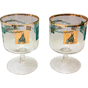 Libbey Southern Comfort Pair 22K Gold and Aqua Riverboat Stemmed Cocktails Round Foot circa ..