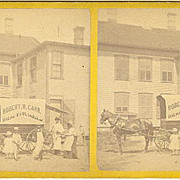 Providence, Rhode Island area Traveling Butcher Stereoview by Chase