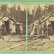 Moosehead Lake, Maine Indian Camp Stereoview by Hinds