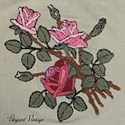 1930's Hooked Work Roses on Linen *Lovely *Grt for Pillow