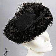 Ostrich Plumes! Vintage 30s - 40s TILT HAT *Karo, NY