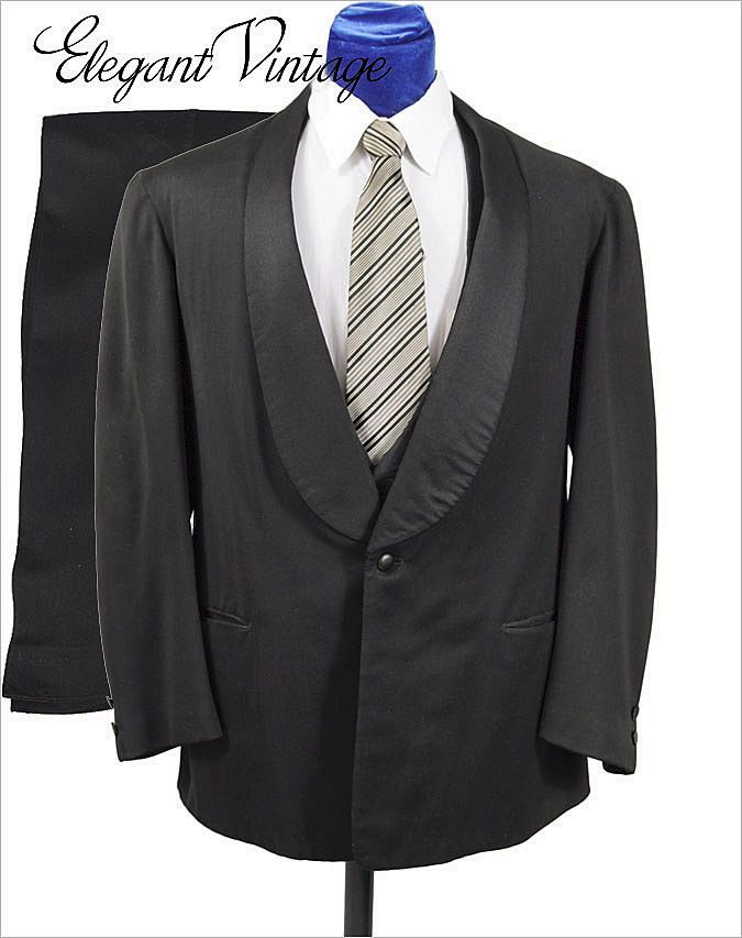 Victorian c1900 Men's Shawl Collar Tuxedo & Pants * Gabardine * 39-40