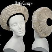 Vintage Hattie Carnegie Halo Hat 1930s - 40s *Net woven w/Straw