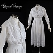 Vintage c1910 Embroidered White 2 pc Dress