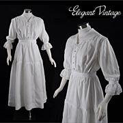 Vintage Victorian c1900 Linen Garden or Tea Dress
