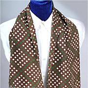SALE Vintage 1940's Men's Scarf * Polka-Dots