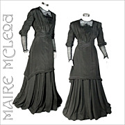 Elegant c1910 Edwardian Silk Dress Gown *S