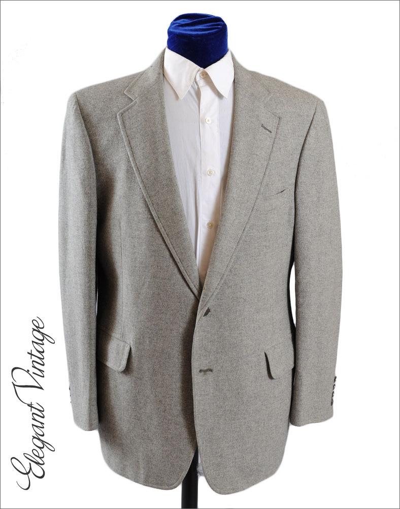 Vintage Majer Gray Cashmere Mens Sport Coat Blazer 1970's *42-43