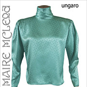 Ungaro Silk Charmeuse Evening Blouse Top 1980's