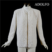Vintage 70s - 80s ADOLFO Knit Sweater Jacket / Top *Rhinestones, Beads *M