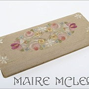 Vintage Silk Floral Embroidery Glove Box