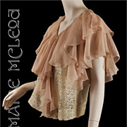 SALE 1930's Cascade Silk Chiffon & Lace Blouse Top - S / M
