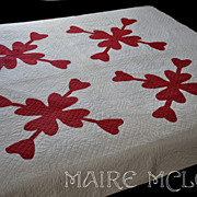 SOLD 19th C Red & White Quilt - Heart Applique - Intricate Quilting