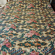 Antique c1850's Roses Pieced Whole Cloth Quilt